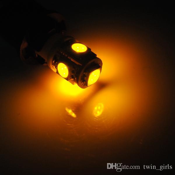 T10 W5W 168 194 Ambre 5050 SMD 5 LED Côté Voiture Wedge Lights Ampoule 12V Livraison Gratuite En Gros