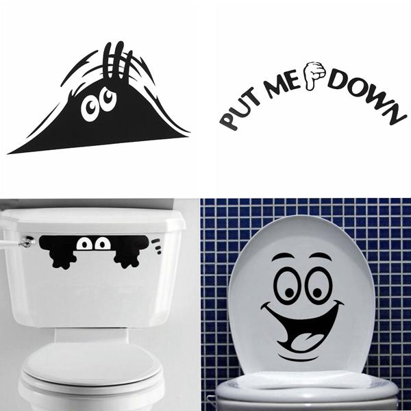 Beautiful Design Smiley Face Funny Toilet Bathroom Decal Seat Decor  Removable Diy Wall Stickers Lowest Price Order≪$18no Track Bathroom Wall  Decals ...