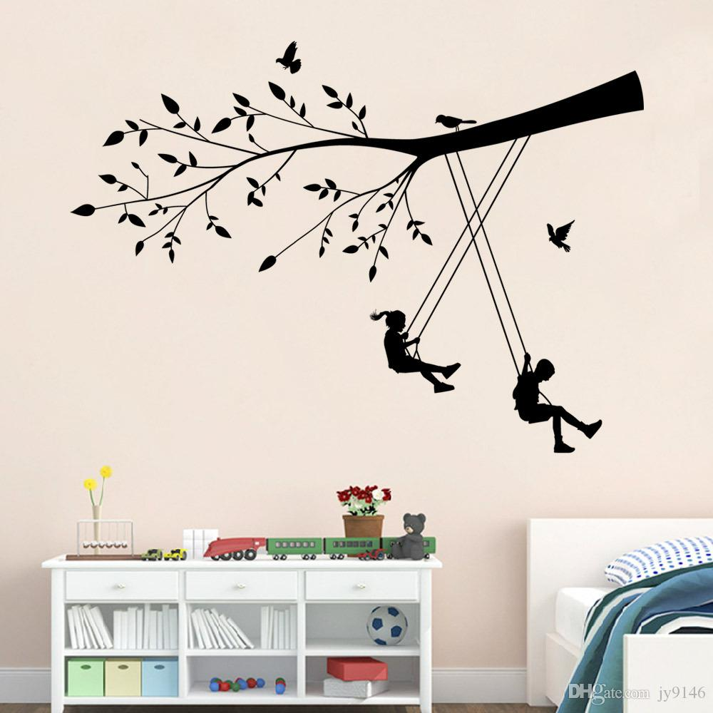 Kids On The Swings Wall Sticker DIY Removable Child Interest Wall ...