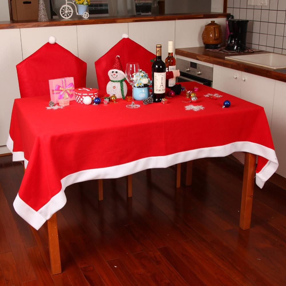hot sale tablecloths chair cover set christmas decoration red table cloth square flannel dining table covers xmas ornament k0002 - Discount Table Linens