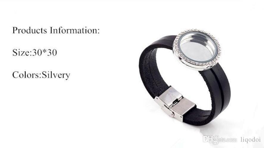 Bijoux de mode ouvert 30MM Noir Bracelet en cuir véritable médaillon flottant Bracelet DIY Cadre de verre magnétique Flottant Charmets Lockets