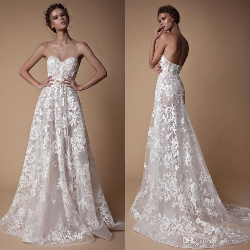 c005965a883c Discount Sweetheart Berta Beach Wedding Dresses Backless Lace Applique  Elegant Plus Size Wedding Dress Sweep Train Country Bridal Gown Second  Marriage ...