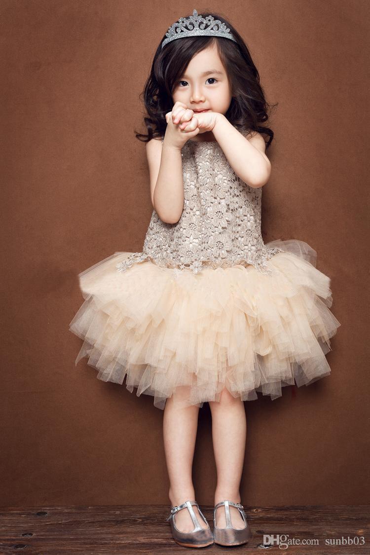 Vestido de niña Tutu Niñas Encaje Princesa Vestidos Bebé Niños Ropa Floral Hueco Vestido sin mangas Verano Estilo coreano Chaleco elegante Champagne