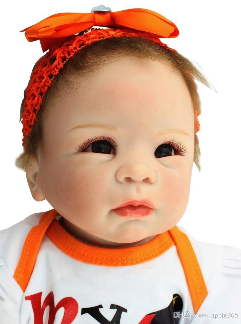 """55cm/22""""VERY CUTE Vinyl Silicone Reborn Baby Toy / blrown eyes Soft Gentle Touch Cloth Body/Magnetic pacifier"""