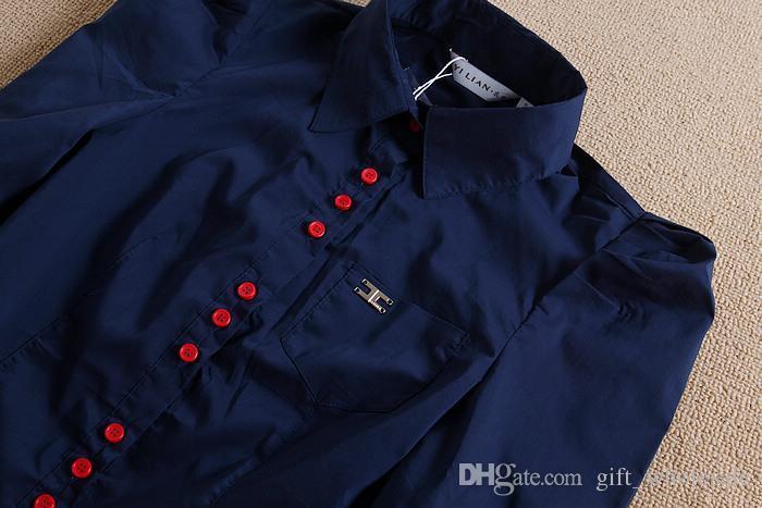New Fashion Women Elegant Long Sleeve Cotton OL Body Shirt Button Design Dark Blue, White, Wine red S-XXXL