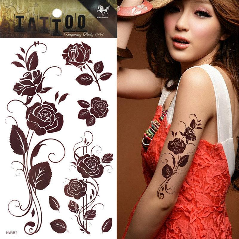 Brown Rose Tattoo Temporary Henna Tattoo Sticker Body Art Tatuagem