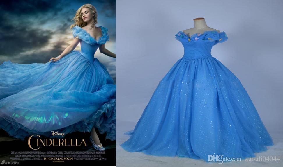 Movie Cinderella Prom Dresses 2015 Custom Made Blue Color Off