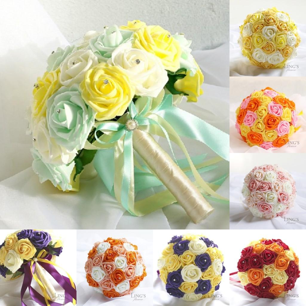 2015 Real Image Cheap Bridal Bouquets Artificial Flowers Wedding ...