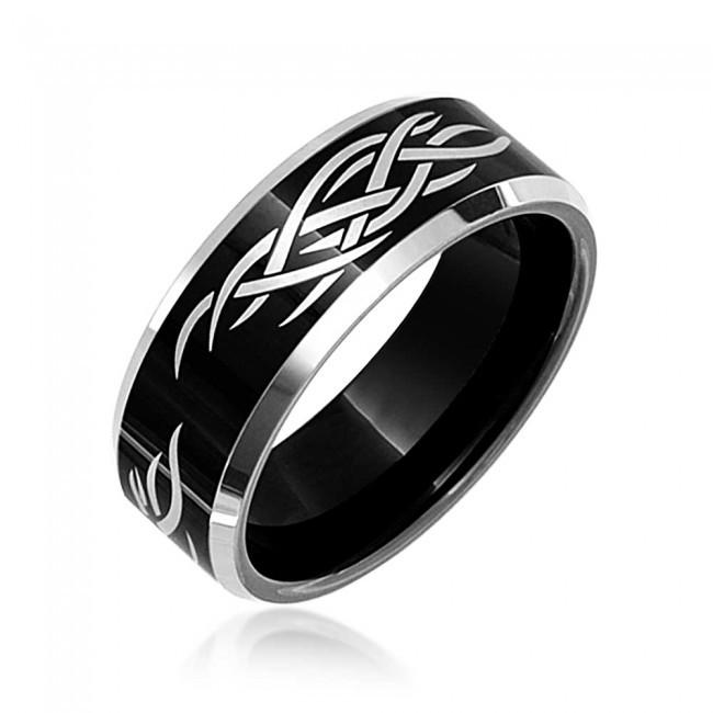 Online Cheap Hot Sell 8mm Mens Laser Etched Tribal Design Black Tungsten Ring Anillos Anel Anillo Engagement Bague Aneis By Shardon Jewelry