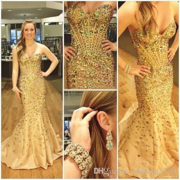 Luxe prom jurken zeemeermin kleurrijke kristallen kralen corset lange formele avond pageantjurken op maat gemaakte hoge kwaliteit met sweep trein
