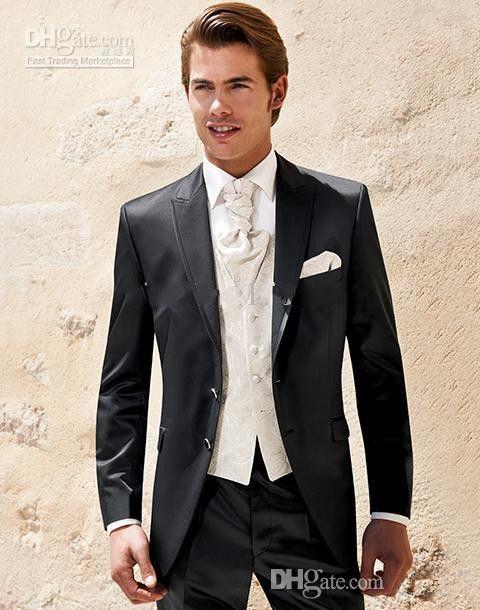 تناسب الرجال وسيم حار بيع الأزياء البدلات الرسمية أسود للرجال اللباس بندقية طوق عملية purfle البدلات الرسمية العريس الكلاسيكية سترة + سروال + سترة