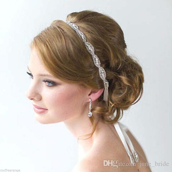 Rhinestone Bridal Headbands Crystal Ribbon Tie Back Prom Party ... 2ee0e17d560