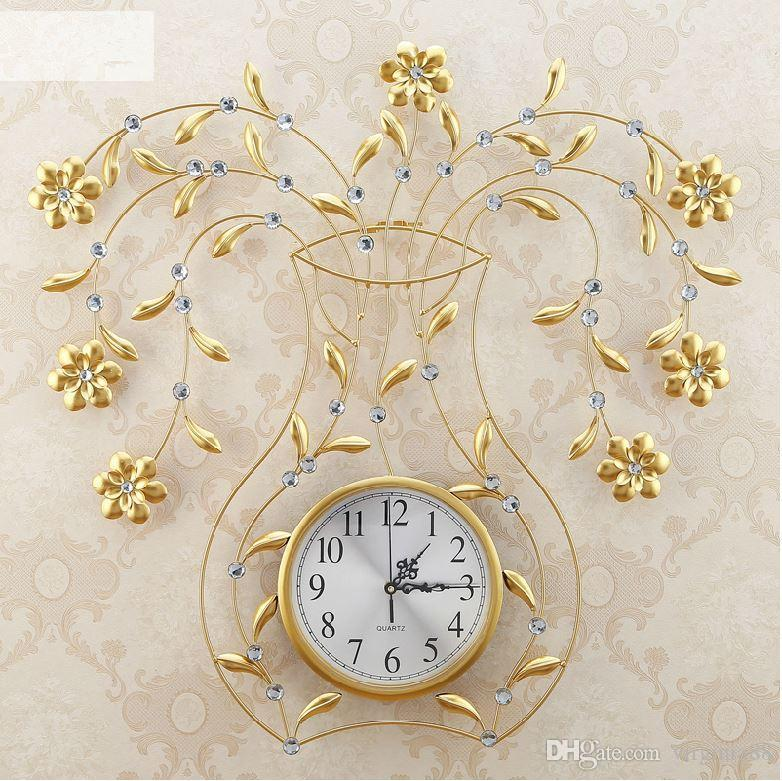 Luxury Modern Living Room Gold Wall Clocks Fashion Personalized Creative Flower Clock For Kitchen From