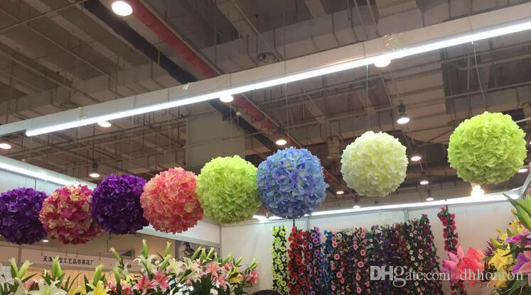 11 inch artificial hydrangea flower ball pincushion wedding ball kissing ball wedding supermarket deoration hangings ball FB009