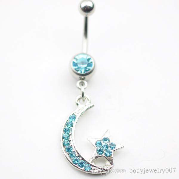 a9b1124c24 2019 D0133 1 Nice STAR   MOON Style Navel Belly Ring AQUA Color Stone Drop  Shipping Piericing Body Jewelry From Bodyjewelry007