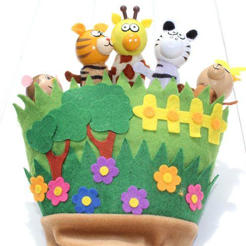 القماش القطيفة خشبية غابة الحيوان قفاز فنجر الدمى الأسرة الدمى الحيوانية قفاز اليد الدمى للأطفال اللعب زيبرا