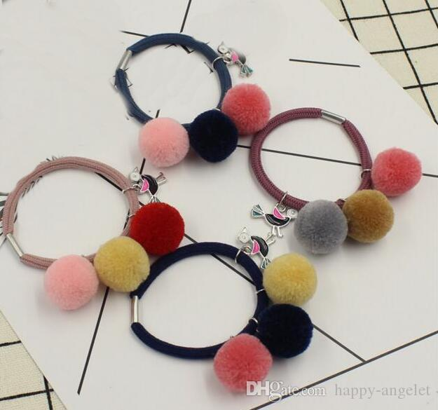 Lady Girl Faux Fur Fluffy Pom Pom Three Color Ball Scrunchies Pompon Elastic  Ponytail Holder Hair Ties Accessories GR111 Girl Hair Band Accessories  Newborn ... d7637c9e29c2