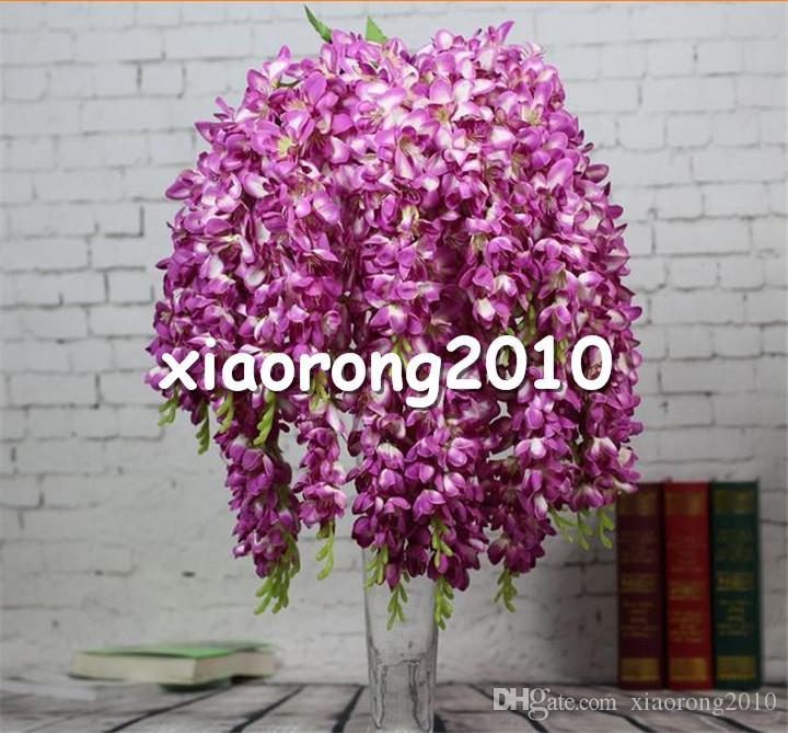 "HOT Silk Thai Orchid Chlorophytum 65cm/25.59"" Length Artificial Freesia Bracketplant 5 Stems for Wedding Centerpiece Home Xmas Decor"