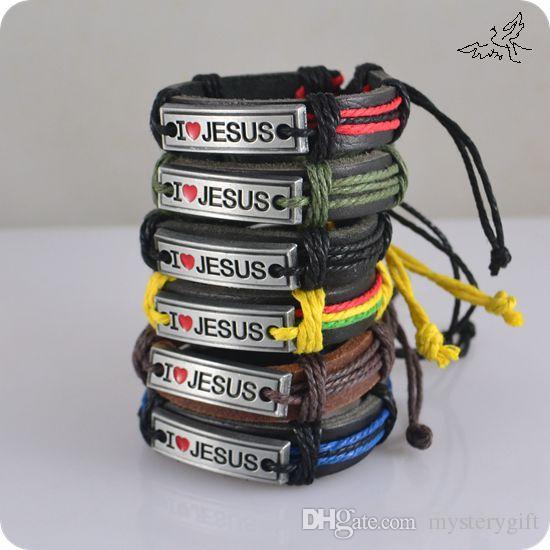 24 pçs / lote MIX cor eu amo JESUS pulseiras liga de couro ID pulseira jóias religiosas