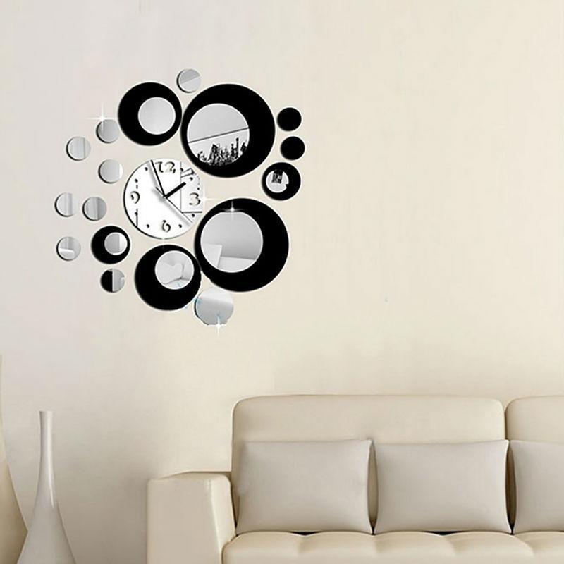 Clock Wall Art hot fashion creative home furnishing background diy round mirror
