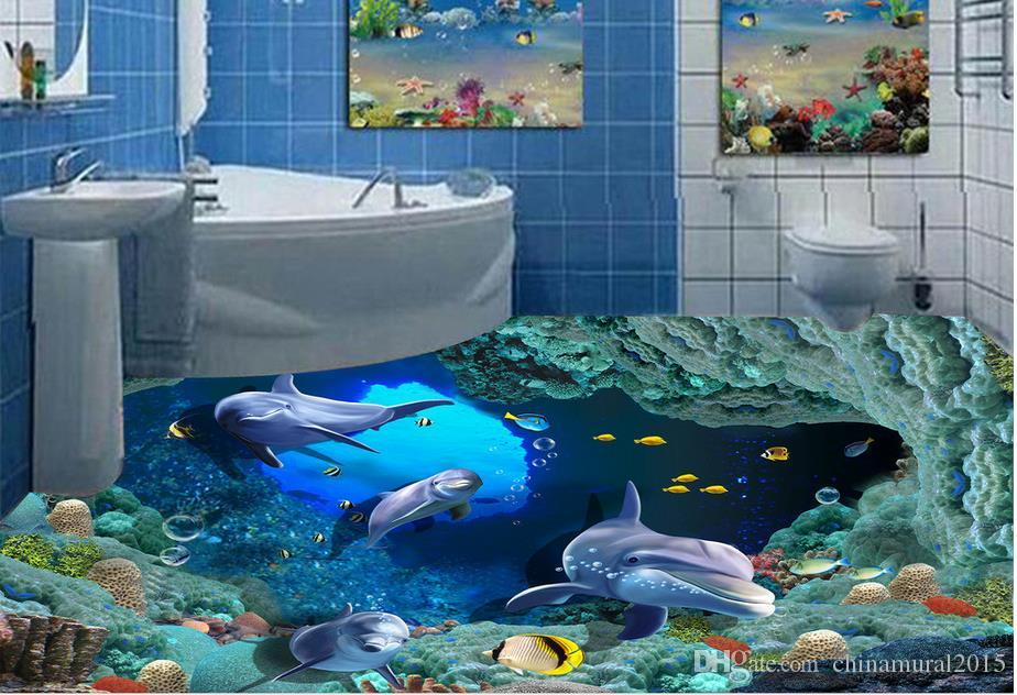 Unterwasserwelt Korallen Schildkröte 3D Boden zu Boden Malerei wasserdicht PVC Wallpaper