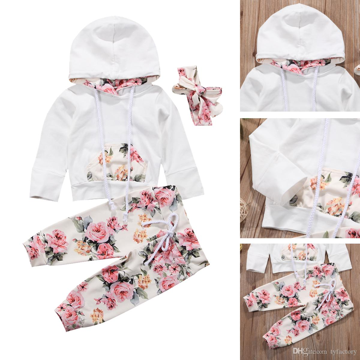979c57d49 2019 New Baby Infant Girls Clothing Set Flower Long Sleeve Hooded ...