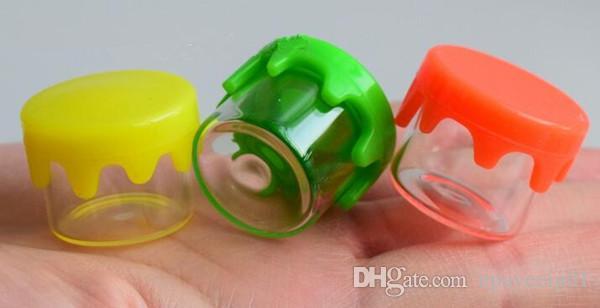 Vaso in vetro da 6ml con coperchio in silicone giallo rosso verde tappo con coperchio in gomma stampata logo e contenitore stoccaggio olio dab