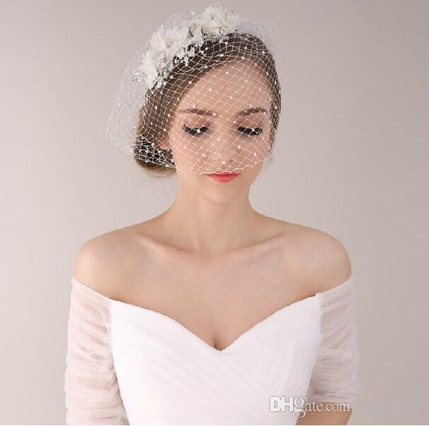 Vintage Wedding Hairstyles With Birdcage Veil: Vintage Wedding Bridal Crystal Rhinestone Pearls White