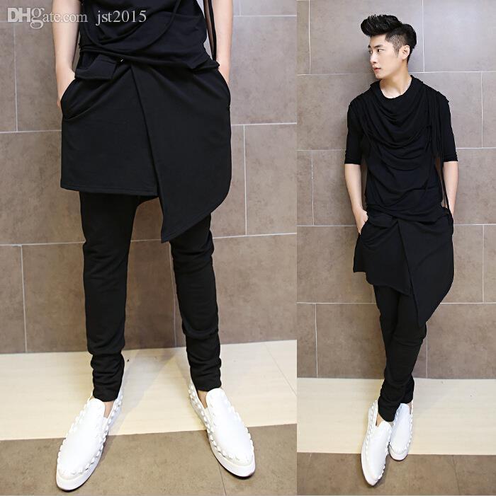 2019 Wholesale Korean Hip Hop Fashion Dance Pants For Men Black Drop