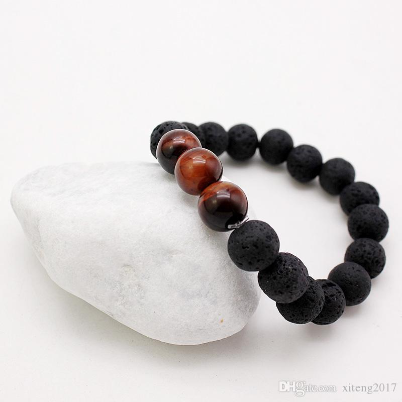 Trendy 10mm Black Lava Stone Bracelets Chakra Healing Balance Yoga Beads Bracelet For Women Stretch Tiger Eye Stone Charms Jewelry Gifts