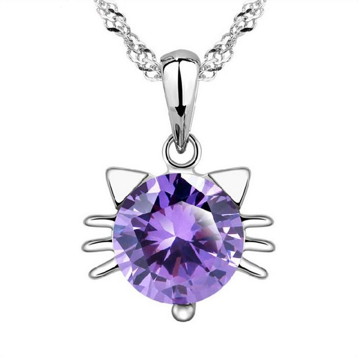 silver primary purple diamond pendant sterling in treated ladies