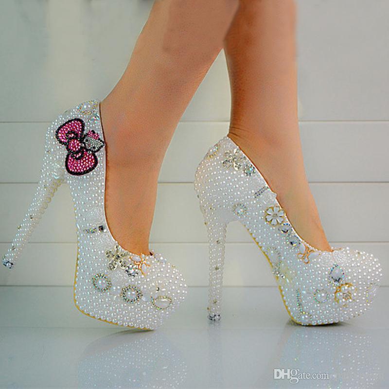 Nuove scarpe da sposa di cristallo di perle di moda su misura scarpe da sposa tacco alto scarpe da ballo di cerimonia nuziale delle donne di promenade del partito