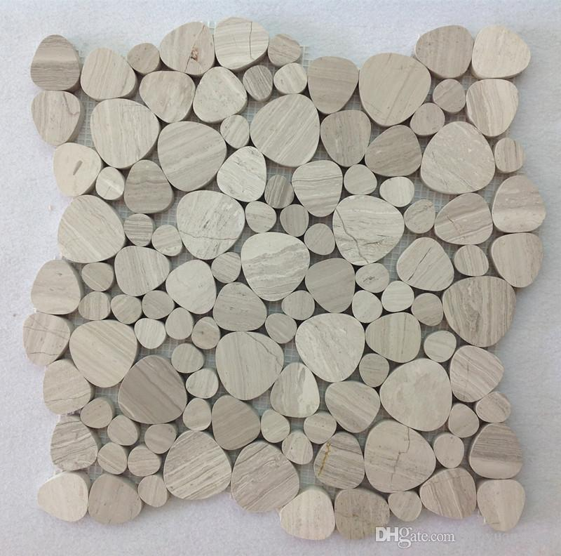 mosaico de mármore cinza de madeira moeda de um centavo telha redonda pedra natural seixo