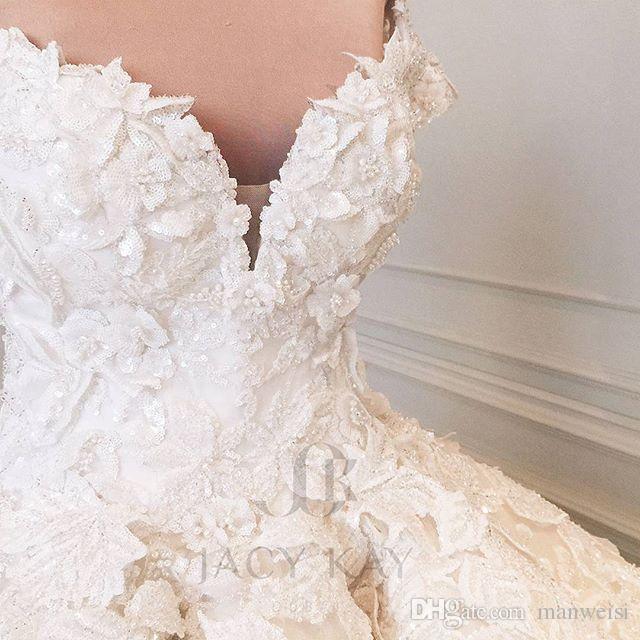 럭셔리 어깨 크리스탈 2020 웨딩 드레스 전체 레이스 페르시 스팽글 신부 가운 빈티지 볼 가운 플러스 사이즈 robes de bal