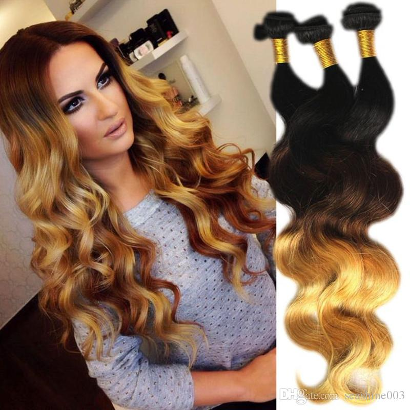 Brazilian Ombre Hair Extension Body Wave 3 Bundles Ombre Virgin Hair