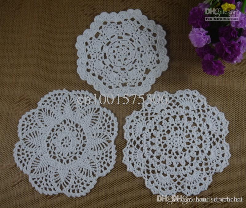 Online Cheap Handmade Crochet Pattern Doily 3 Designs Cup Pad Mat