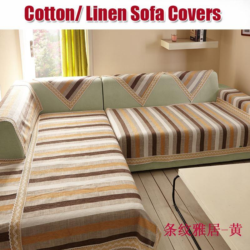 Cotton/linen Sofa Covers L/L Shape Slip Cover Sofa Cuir Couch Covers Corner  Beige Striped Fabric For Sofas Couch Covers Case Sofa Cover For The Couch  Online ...
