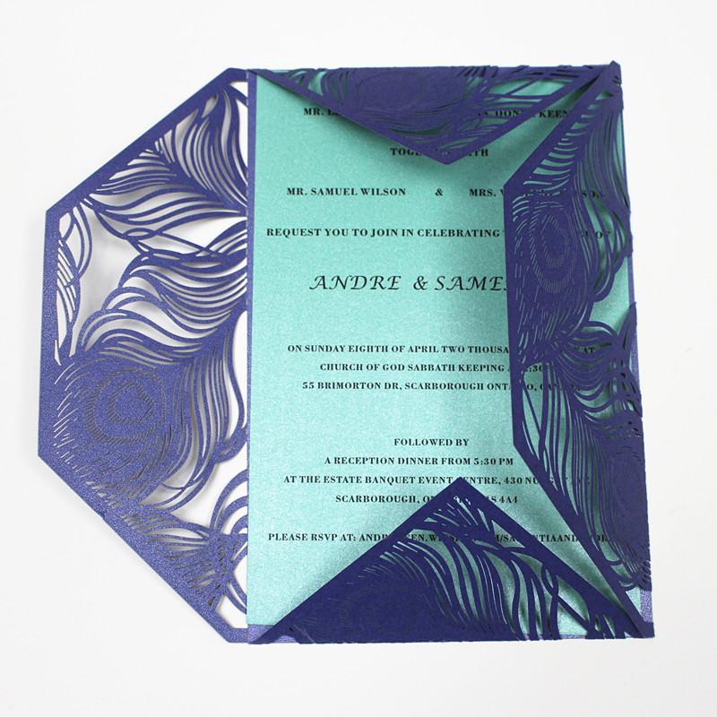 Acheter Peocock Plume Bleu Carte Dinvitation Laser Decoupe Vacances De Voeux Perle Papier Brillant Fete Decoration 061 Du Milashao