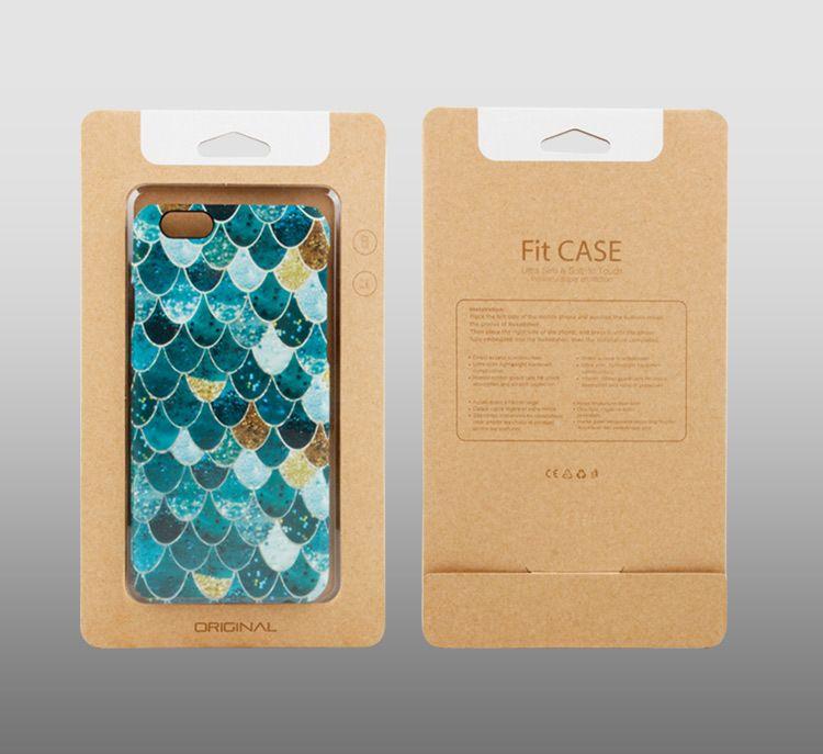 Luxus-Fisch-Skala-Kasten mit Kraft Papierverpackung für iPhone 7 Plus X Slim Case mit Papierkasten