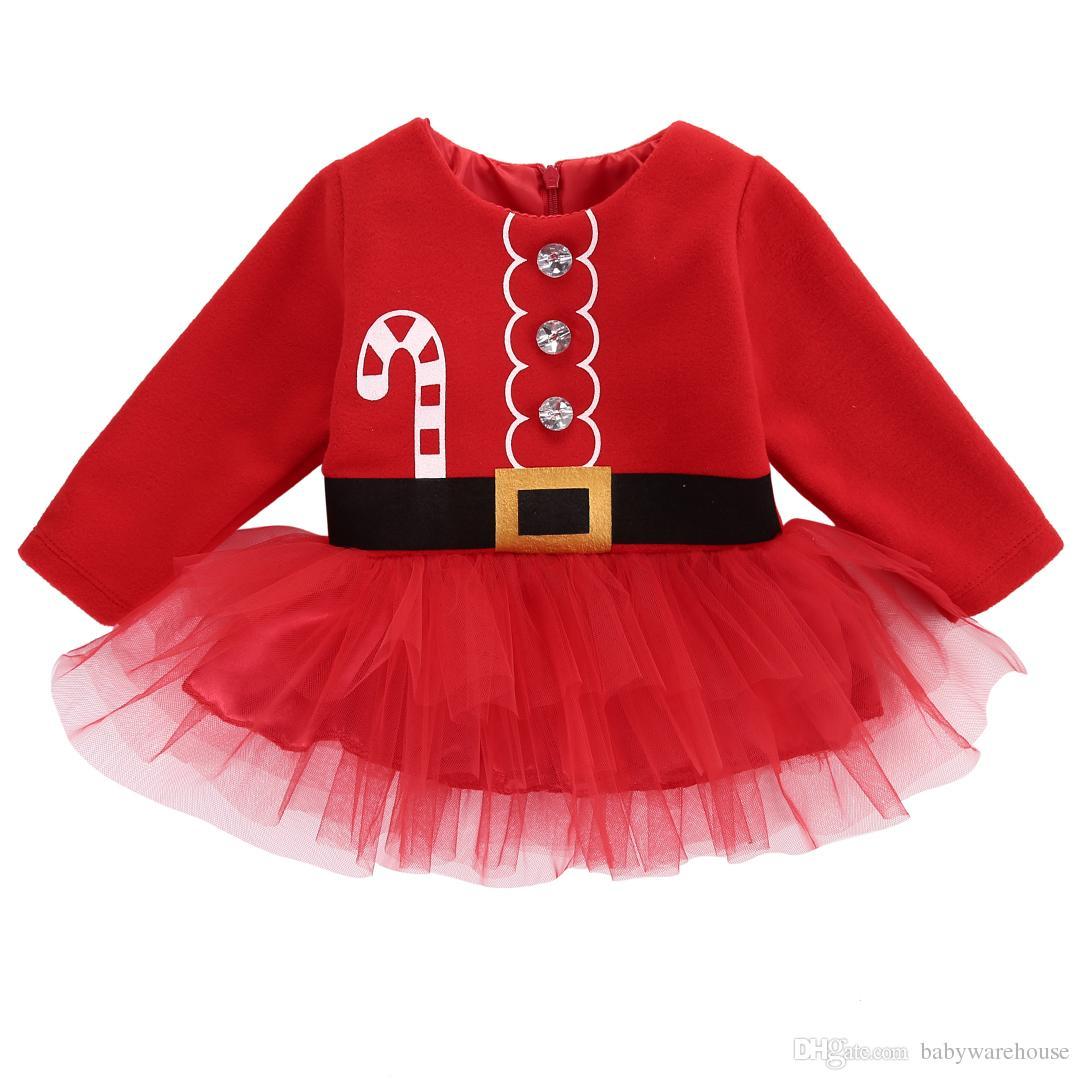 a4e6ae5c9 Ropa de Navidad Niña Recién Nacida de Manga Larga Vestido Rojo Navidad  Santa Claus Vestidos de Tul Trajes de Niños Traje Vestido de Fiesta de ...