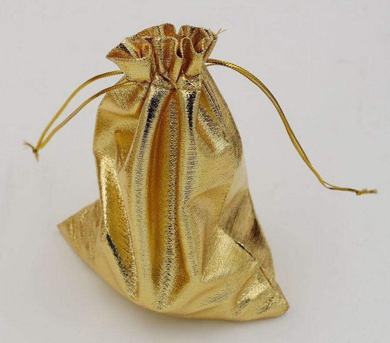 Gorąca sprzedaż ! Gold Folia Organza Wedding Favor Prezent Torba Pokrowiec Pakiet Biżuteria 11x16 CM / 13x18cm 364