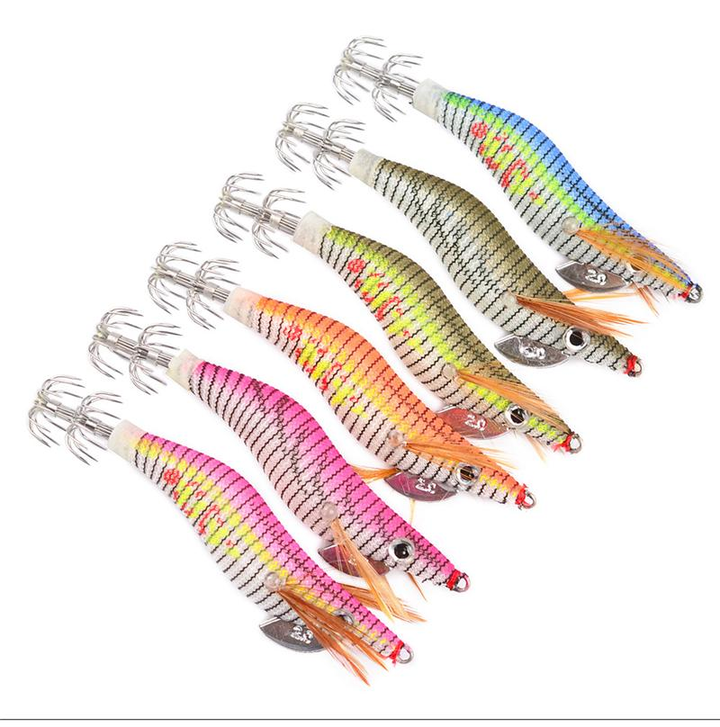 Crevettes lumineuses en bois calmars leurre 2 # hameçons 8cm 5.5g