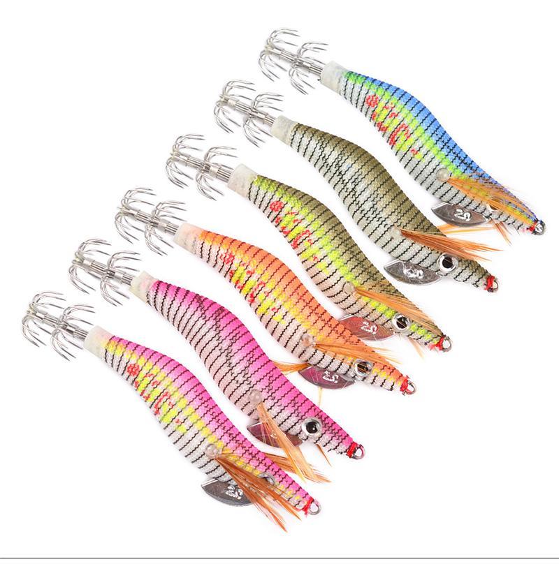 Luminous lula de camarão de madeira isca 2 # ganchos de pesca 8 cm 5.5g 6 cores Jigs Squid Chocos crankbait Isca De Camarão Artificial