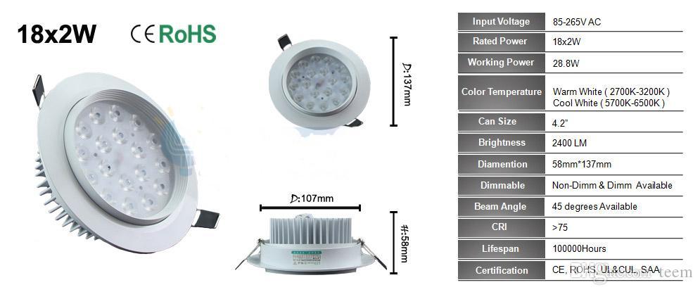 ce بنفايات عكس الضوء الصمام ضوء السقف 12 واط 24 واط 36 واط أدى التحديثية تريم راحة النازل الأضواء مصباح 110-240 فولت أدى انخفاض الإضاءة + سائق 50