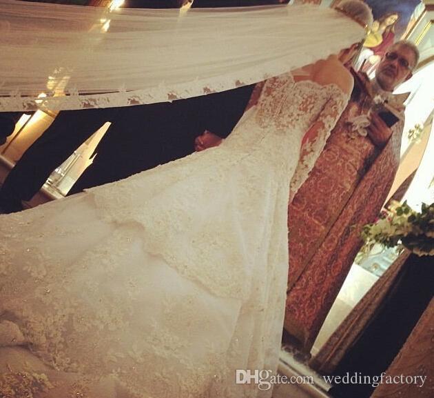 고급스러운 웨딩 드레스 섹시한 웨딩 드레스 어깨 긴 소매 쉬어 파란색 레이스 법원 기차 빈티지 신부 가운