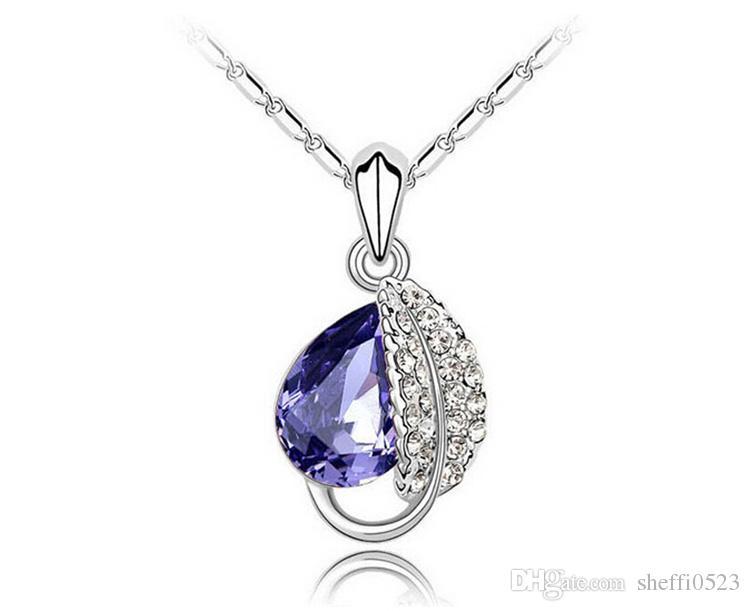 Moda collana di cristallo austriaco ciondolo gioielli di alta qualità foglia forma gioielli collana economici le donne gioielli swarovski gioielli 4172