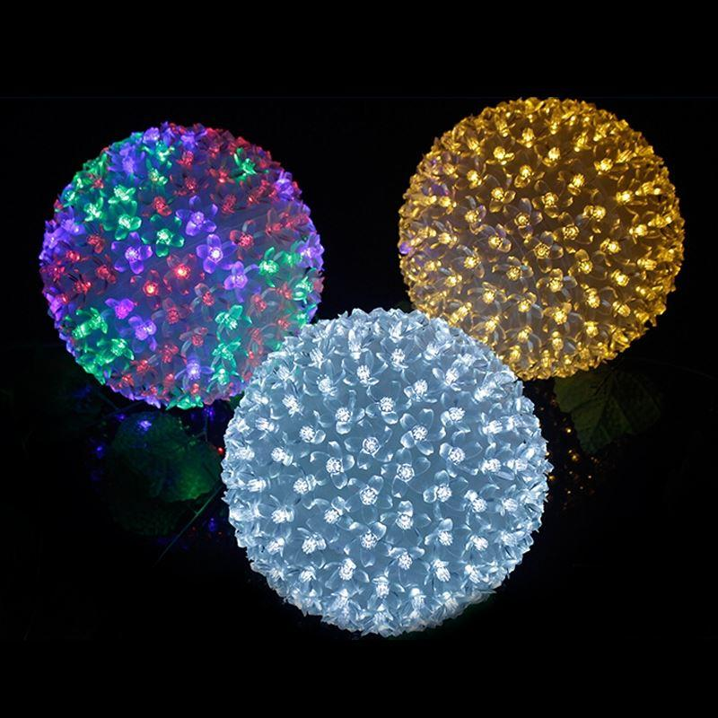 Christmas LED Ball Lights of Peach Flower Romantic Magic RGB Color 10cm Diameter Chinese Lantern String Lights
