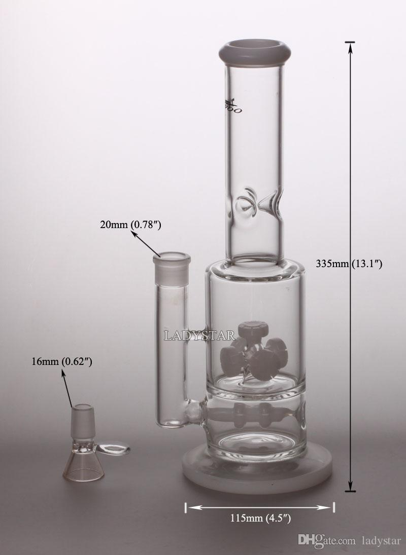 "13"" High oil rig glass bong Double Recycler Glass Water Function Percolator Pipes Tornado Perc glass water pipe 18.8mm joint Bubbler L173A"