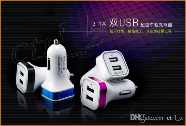 Dual Port USB Car Charger Metal Plastic 2 Ports Charger For iPad air 2 iphone 6 plus For Samsung Universal Car Charger 5V 2.1A