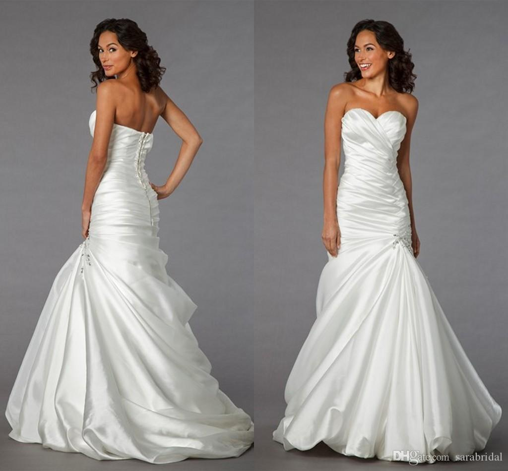 2014 Simple Design Satin Bridal Dresses Cheap Sweetheart Ruched ...